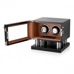 Leader Watch Winders Wooden Watch Winder for 2 Automatic Watches (Black + Brown)