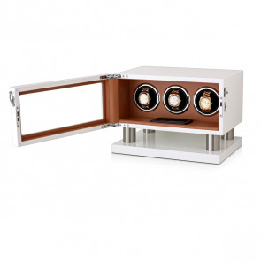 Leader Watch Winders Triple Watch Winder for Automatic Watches (White + Brown)