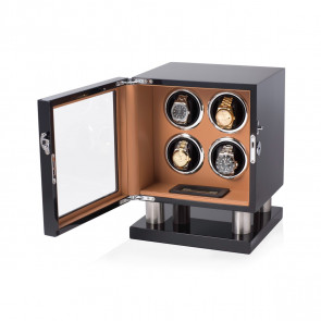 Leader Watch Winder Box for 4 Automatic Watches (Black + Brown)