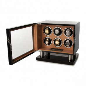 Leader Watch Winder for 6 Watches (Black + Brown)