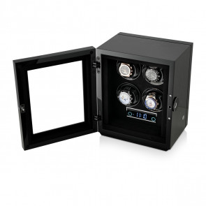 Premium 4 Watch Winder with Fingerprint Lock (Black Apricot)