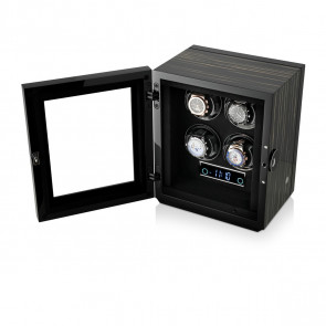 Premium 4 Watch Winder with Fingerprint Lock (Black Shadow)
