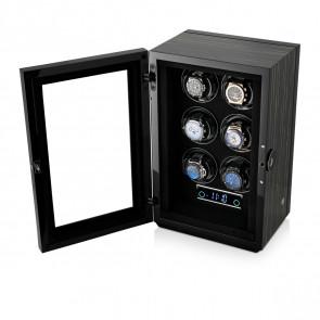 Premium 6 Watch Winder with Fingerprint Lock (Black Shadow)