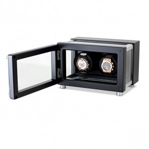Dual Watch Winder in Hi-Tech Style with Glass Case for Men's and Women's Watches (Black)