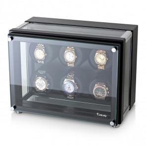 6 Watch Winder in Hi-Tech Style with Ultra-Quiet Motors (Black)