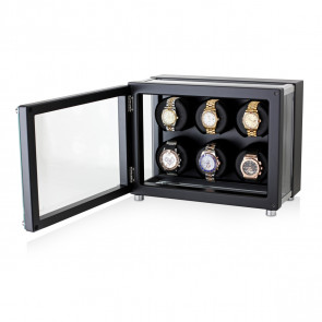6 Watch Winder in Hi-Tech Style with Ultra-Quiet Motors (Black)