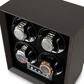 Petite 4 Quad watch winder (Brown Leather)