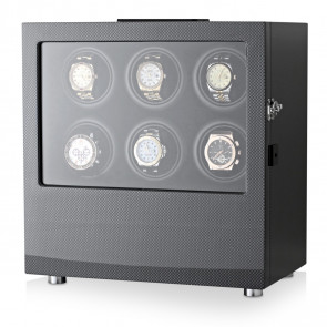 Watch Winder for 6 Watches (Carbon + Black)