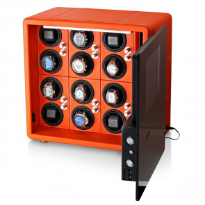 Watch Winder Safe for 12 Watches with Digital Lock and Alarm System (Orange)
