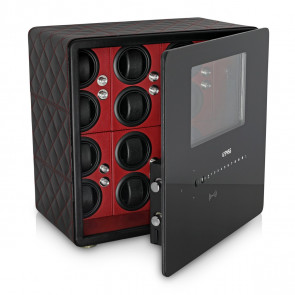 Watch Winder Safe for 12 Watches with Digital Lock and Alarm System (Black + Red)