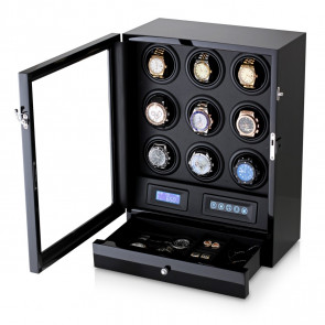 Watch Winder for 9 Watches (Black + Black)