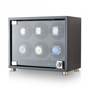 Leader Watch Winder for 6 Watches (Carbon)