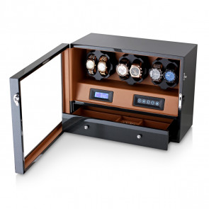 Watch Winder for 6 Watches (Carbon + Brown)