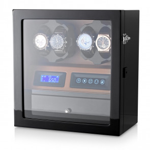 Leader Watch Winders for 4 Watches (Black + Brown)